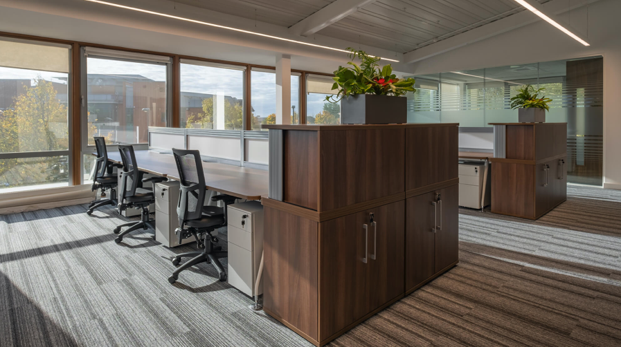 Image shows tidy desks as part of fitout created by Ben Johnson Interiors